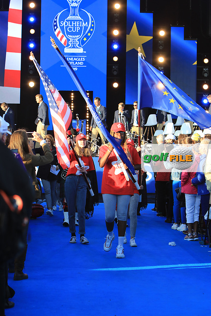 The colour party leaving the stage during the Opening Ceremony of the Solheim Cup 2019 at Gleneagles Golf CLub, Auchterarder, Perthshire, Scotland. 12/09/2019.<br /> Picture Thos Caffrey / Golffile.ie<br /> <br /> All photo usage must carry mandatory copyright credit (© Golffile | Thos Caffrey)