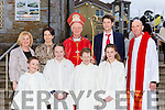 Shrone NS Rathmore pupils with Bishop Ray Browne at their Confirmation in St Josephs Church Rathmore on Tuesday front row l-r: Aaron Doherty, Michelle Cronin, James Twomey, Orla Cremin. Back row: Michelle Murphy Principal, Carina O'Mahony, SNA Diarmuid Coakley and Fr Pat O'Donnell
