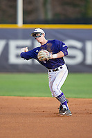 High Point Panthers second baseman Chris Clare (9) makes a throw to first base against the Davidson Wildcats at Willard Stadium on March 24, 2015 in High Point, North Carolina.  The Panthers defeated the Wildcats 15-2.  (Brian Westerholt/Four Seam Images)