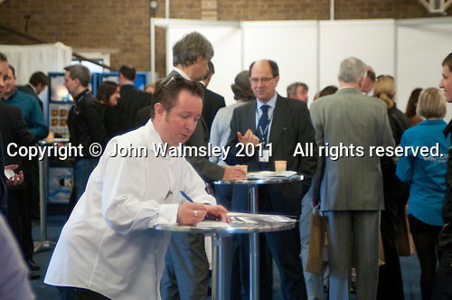 Delegates in the networking and refreshments area, Kent2020Vision show, County Showground, Kent.
