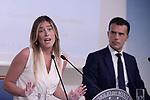 Maria Elena Boschi e Sandro Gozi in conferenza stampa