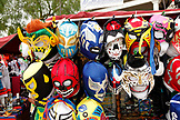 USA, California, San Diego, one of the stands inside Old Town Market sells vibrant masks to those who pass by