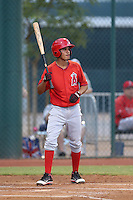 Juan Moreno #6 of the AZL Angels bats against the AZL Indians at the Cleveland Indians Spring Training Complex on July 13, 2014 in Goodyear, Arizona. AZL Angels defeated the AZL Indians, 6-5. (Larry Goren/Four Seam Images)