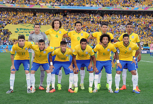 Brazil team group line-up (BRA), JUNE 12, 2014 - Football / Soccer : FIFA World Cup Brazil 2014 Group A match between Brazil 3-1 Croatia at Arena de Sao Paulo in Sao Paulo, Brazil. (Photo by SONG Seak-In/AFLO)