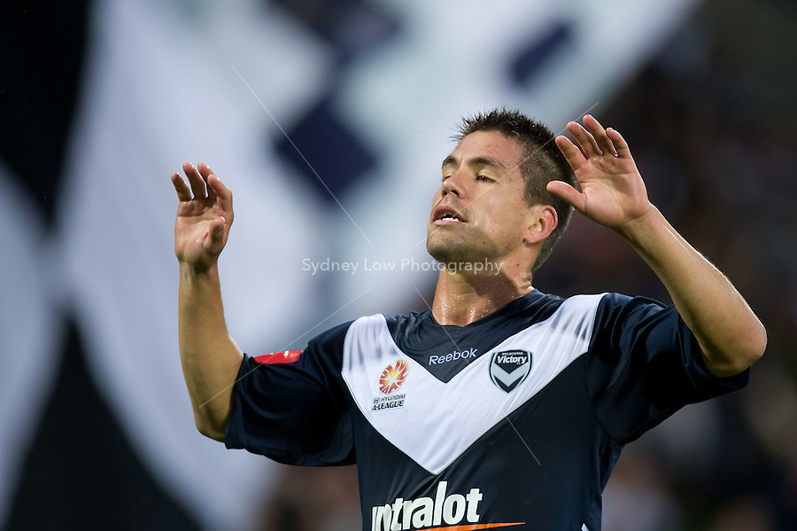 MELBOURNE, AUSTRALIA - DECEMBER 18: Rodrigo Vargas of the Victory celebrates his goal during the round 19 A-League match between the Melbourne Victory and the Perth Glory at AAMI Park on December 18, 2010 in Melbourne, Australia.  (Photo by Sydney Low / Asterisk Images)