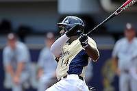 22 April 2012:  FIU outfielder Jabari Henry (14) bats late in the game as the University of Arkansas Little Rock Trojans defeated the FIU Golden Panthers, 7-6, at University Park Stadium in Miami, Florida.