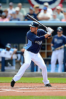 Tampa Bay Rays outfielder Matt Joyce #20 at bat during a Grapefruit League Spring Training game against the Boston Red Sox at Charlotte County Sports Park on February 25, 2013 in Port Charlotte, Florida.  Tampa Bay defeated Boston 6-3.  (Mike Janes/Four Seam Images)