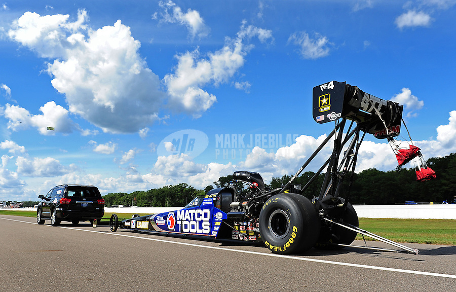 Aug. 20, 2011; Brainerd, MN, USA: NHRA top fuel dragster driver Antron Brown during qualifying for the Lucas Oil Nationals at Brainerd International Raceway. Mandatory Credit: Mark J. Rebilas-