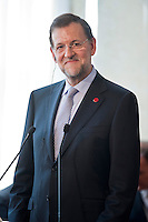 Mariano Rajoy durante la conferenza stampa al termine del vertice tra Italia, Spagna, Francia e Germania a Villa Madama..Spanish Premier Mariano Rajoy attends a media conference at the end of a meeting with German Chancellor Angela Merkel, Italian Prime Minister Mario Monti and French Prime Minister Francois Hollande at Villa Madama in Rome.