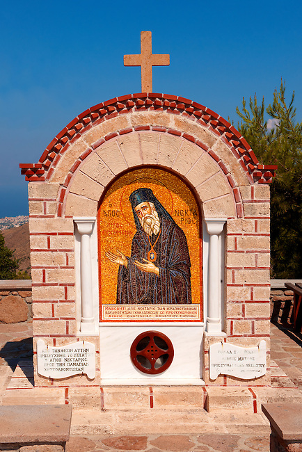 Memorial to Ayios (Saint) Nektarios who died on Aegina in 1921. Greek Saronic Islands