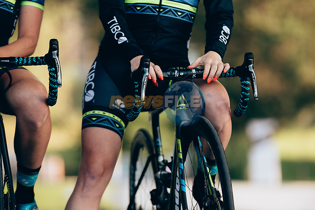 Tibco-Silicon Valley Bank at sign on before the start of La Course 2019 By Le Tour running 121km from Pau to Pau, France. 19th July 2019.<br /> Picture: ASO/Thomas Maheux | Cyclefile<br /> All photos usage must carry mandatory copyright credit (© Cyclefile | ASO/Thomas Maheux)