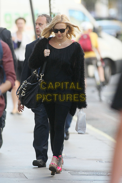 Fearne Cotton in central London, England..September 5th, 2012.full length black mohair cardigan top leggings pink sandals shoes bag purse sunglasses shades pregnant walking .CAP/HIL.©John Hillcoat/Capital Pictures.