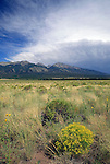 Storm approaching the San Luis Valley and Sangre de Christo Mountains, Colorado, USA