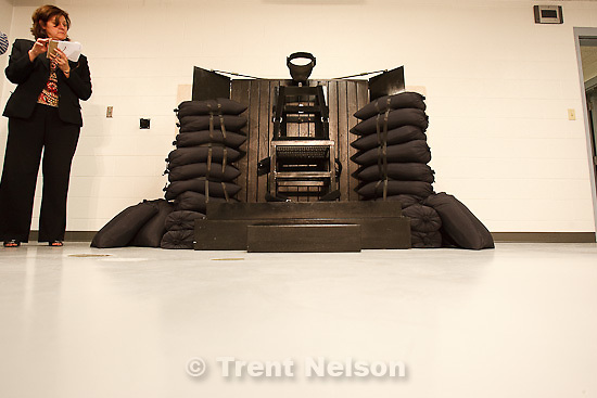 Trent Nelson  |  The Salt Lake Tribune.Draper - The execution chamber at the Utah State Prison after Ronnie Lee Gardner was executed by firing squad Friday, June 18, 2010. Four bullet holes are visible in the wood panel behind the chair. Gardner was convicted of aggravated murder, a capital felony, in 1985. jennifer dobner