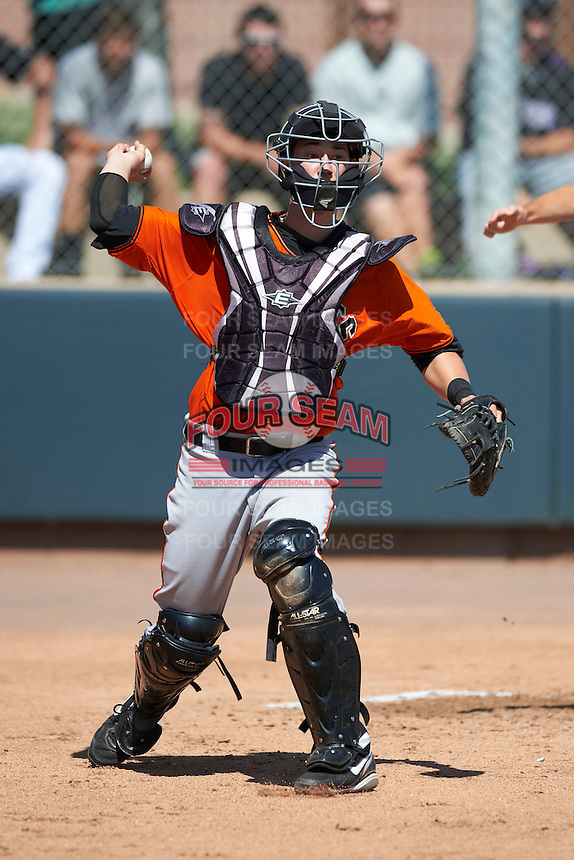 San Francisco Giants minor league catcher/infielder Trevor Brown #8 during an instructional league game against the Colorado Rockies at the Salt River Flats Complex on October 4, 2012 in Scottsdale, Arizona.  (Mike Janes/Four Seam Images)