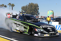 Feb. 22, 2013; Chandler, AZ, USA; NHRA funny car driver Alexis DeJoria during qualifying for the Arizona Nationals at Firebird International Raceway. Mandatory Credit: Mark J. Rebilas-