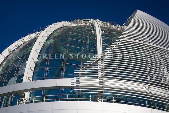 A close up of Rotunda's glass dome at city hall. San Jose City Hall is the first city hall in the United States to achieve the LEED Platinum rating from the U.S. Green Building Council. Mayor Chuck Reed says, 'By being energy efficient and implementing other green practices, San Jose's City Hall will yield annual savings of more than $30,000 in energy costs alone.' The project was designed by architects Richard Meier & Partners.