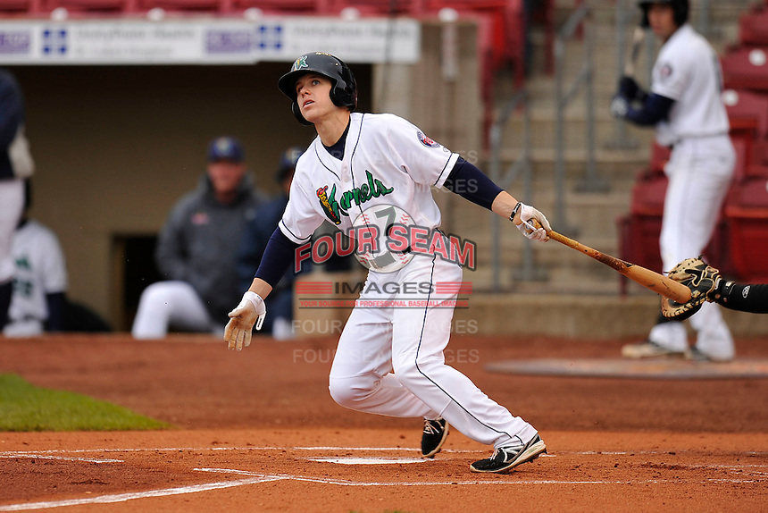 Tanner Vavra #7 of the Cedar Rapids Kernels swings against the Kane County Cougars at Perfect Game Field on May 1, 2014 in Cedar Rapids, Iowa. The Kernels won 5-2.   (Dennis Hubbard/Four Seam Images)