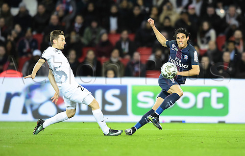 11.01.2017. Paris, France. French league cup football, Paris Saint Germain versus FC Metz.  Edinson Cavani (psg) gets his shot on goal