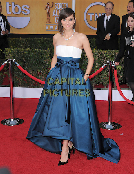 Marion Cotillard (wearing Dior Haute Couture).Arrivals at the 19th Annual Screen Actors Guild Awards at the Shrine Auditorium in Los Angeles, California, USA..27th January 2013.SAG SAGs full length strapless dress blue white silk satin skirt gown bodice high-low hem hands in pockets .CAP/DVS.©DVS/Capital Pictures.