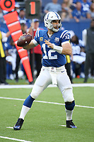 Indianapolis Colts QB Andrew Luck #12 NFL football game between the Houston Texans and the Indianapolis Colts, Sunday, Sept. 30, 2018 in Indianapolis. (Photo by Michael Zito/AP Images for Panini)