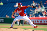 Philadelphia Phillies pitcher Ethan Martin #70 during a Spring Training game against the Dominican Republic at Bright House Field on March 5, 2013 in Clearwater, Florida.  The Dominican defeated Philadelphia 15-2.  (Mike Janes/Four Seam Images)
