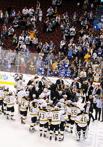 15.06.2011 The Boston Bruins celebrate a Stanley Cup victory after the Bruins defeated the Vancouver Canucks in game 7 of the Stanley Cup Finals at Rogers Arena in Vancouver, British Columbia on Wednesday night.