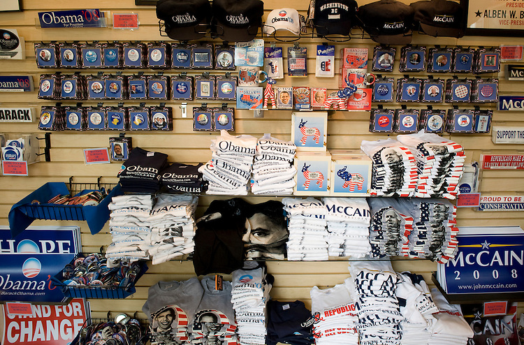 McCain and Obama campaign memorabilia are hot items at Americana, a political memorabilia store at 14th St. and Pennsylvania Ave. NW.