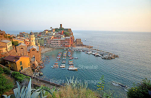 Vernazza, one of the tiny fishing villages of the Cinque Terre along the Ligurian coast in the early evening.