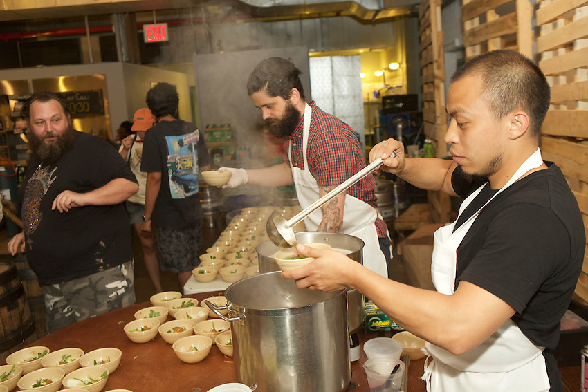Brooklyn, NY - July 19, 2016: Scenes from Sumo Stew 8, a quarterly event series showing Sumo tournaments and serving Chanko-Nabe, a traditional stew eaten by Sumo wrestlers while training for contests.<br /> <br /> CREDIT: Clay Williams.<br /> <br /> &copy; Clay Williams / claywilliamsphoto.com