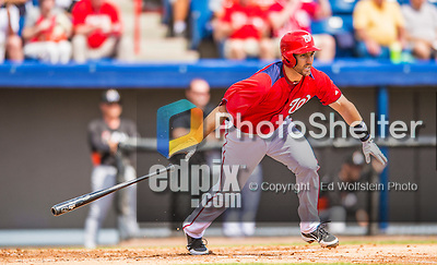 9 March 2013: Washington Nationals infielder Stephen Lombardozzi in action during a Spring Training game against the Miami Marlins at Space Coast Stadium in Viera, Florida. The Nationals edged out the Marlins 8-7 in Grapefruit League play. Mandatory Credit: Ed Wolfstein Photo *** RAW (NEF) Image File Available ***