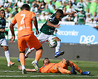 PALMIRA - COLOMBIA, 05-05-2019: Cesar Amaya del Cali disputa el balón con Santiago Jimenez de Envigado durante partido entre Deportivo Cali y Envigado F.C. por la fecha 20 de la Liga Águila I 2019 jugado en el estadio Deportivo Cali de la ciudad de Palmira. / Cesar Amaya of Cali vies for the ball with Santiago Jimenez of Envigado during match between Deportivo Cali and Envigado F.C. for the date 20 as part of Aguila League I 2019 played at Deportivo Cali stadium in Palmira city.  Photo: VizzorImage/ Nelson Rios / Cont
