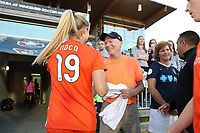 Cary, North Carolina  - Saturday September 09, 2017: Kristie Mewis greets her parents Robert Mewis and Melissa Mewis prior to a regular season National Women's Soccer League (NWSL) match between the North Carolina Courage and the Houston Dash at Sahlen's Stadium at WakeMed Soccer Park. The Courage won the game 1-0.