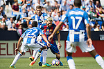 Lionel Messi of FC Barcelona battles for the ball with Lluis Sastre of Deportivo Leganes during their La Liga match between Deportivo Leganes and FC Barcelona at the Butarque Municipal Stadium on 17 September 2016 in Madrid, Spain. Photo by Diego Gonzalez Souto / Power Sport Images