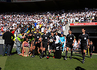 The teams walk out for the 2018 FIFA World Cup Russia first-leg playoff football match between the NZ All Whites and Peru at Westpac Stadium in Wellington, New Zealand on Saturday, 11 November 2017. Photo: Dave Lintott / lintottphoto.co.nz