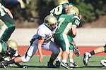 Manhattan Beach, CA 10/27/11 - Triston Martinez (Peninsula #70) and Jake Shampine-Meistrell (Mira Costa #7) in action during the Peninsula vs Mira Costa Junior Varsity football game.