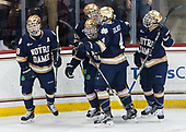 The Irish celebrate Oglevie's goal. - The Boston College Eagles defeated the University of Notre Dame Fighting Irish 6-4 (EN) on Saturday, January 28, 2017, at Kelley Rink in Conte Forum in Chestnut Hill, Massachusetts.The Boston College Eagles defeated the University of Notre Dame Fighting Irish 6-4 (EN) on Saturday, January 28, 2017, at Kelley Rink in Conte Forum in Chestnut Hill, Massachusetts.