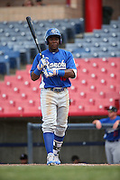 Johan Mieses (18) of the Rancho Cucamonga Quakes bats against the High Desert Mavericks at Heritage Field on May 8, 2016 in Adelanto, California. Rancho Cucamonga defeated High Desert, 11-5. (Larry Goren/Four Seam Images)