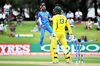 India's Shiva Singh celebrates the wicket of Australia's Will Sutherland during the ICC U-19 Cricket World Cup 2018 Finals between India v Australia, Bay Oval, Tauranga, Saturday 03rd February 2018. Copyright Photo: Raghavan Venugopal / © www.Photosport.nz 2018 © SWpix.com (t/a Photography Hub Ltd)