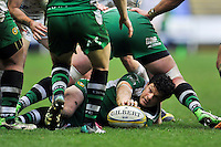 Ciaran Hearn of London Irish presents the ball after being tackled to ground. Aviva Premiership match, between London Irish and Exeter Chiefs on February 21, 2016 at the Madejski Stadium in Reading, England. Photo by: Patrick Khachfe / JMP