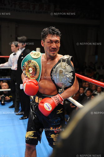 Akinori Watanabe,.MARCH 27, 2012 - Boxing :.Akinori Watanabe celebrates with his champion belt after winning the OPBF and Japanese welterweight titles bout at Korakuen in Tokyo, Japan. (Photo by Mikio Nakai/AFLO)