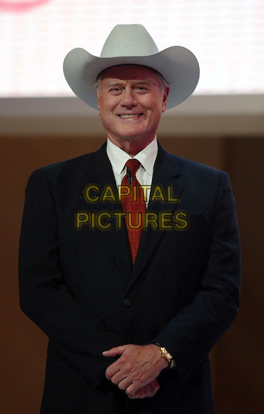LARRY HAGMAN .At The Pre-Screening Of TeleMesse 2002 i MMC Coloneum in Cologne.Ref: Primke.Stetson hat, jr, suit, half length, half-length.www.capitalpictures.com.sales@capitalpictures.com.©Capital Pictures.