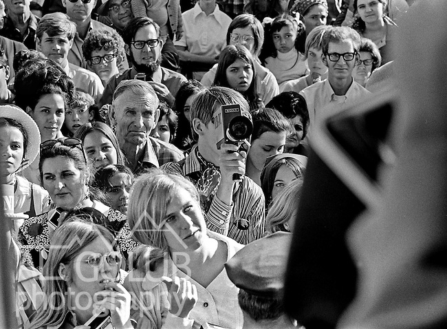 Modesto, California, October 24, 1970.Congressman John V. Tunney, son of Gene Tunney Famous Heavyweight champion came through Modesto on a train trying to running for Senate.  He defeated George Murphy but had only one term and was replaced by S.I. Hayakawa in 1976...Photo By Al Golub/Golub Photography