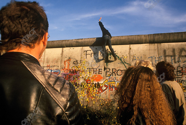 The opening of the Berlin Wall. West Berlin, Germany, November 1989.