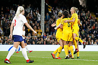 GOAL - Clare Polkinghorne of Australia Women scores during the Women's international friendly match between England Women and Australia at Craven Cottage, London, England on 9 October 2018. Photo by Carlton Myrie / PRiME Media Images.