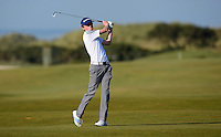 Amateur Sandy Scott hits an approach during Round 2 of the 2015 Alfred Dunhill Links Championship at the Old Course, St Andrews, in Fife, Scotland on 2/10/15.<br /> Picture: Richard Martin-Roberts | Golffile