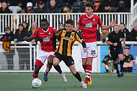 Akil Wright of Wrexham and Maidstone's Jack Paxman challenge for the ball during Maidstone United vs Wrexham, Vanarama National League Football at the Gallagher Stadium on 17th November 2018