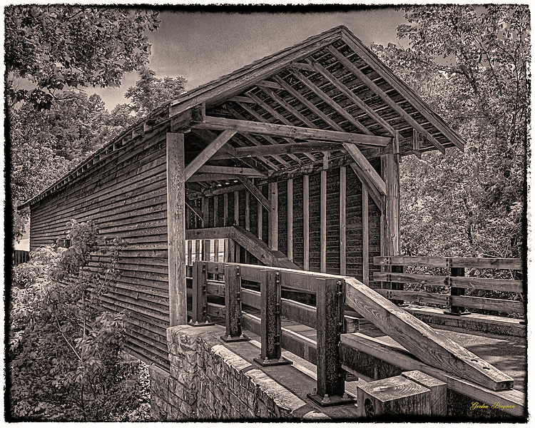 "Harrisburg Covered Bridge outside Sevierville, TN. Three-shot HDR ""antiqued"" in Photoshop."