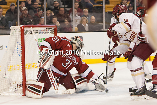 Merrick Madsen (Harvard -  31), Alex Tuch (BC - 12) - The Boston College Eagles defeated the Harvard University Crimson 3-2 in the opening round of the Beanpot on Monday, February 1, 2016, at TD Garden in Boston, Massachusetts.