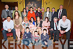 BIRTHDAY: A big night for Mary Logue as her family travelled from afar to attend her 70th birthday in the Grand Hotel Tralee,Mary (Causeway now living Wexford). kneeling in front l-r: Maurice,Sean and Ben Logue. Seated l-r: Maurice,Catherine and Hannah Logue, Damien Sage, mary and Chloe Lyford. Mary Logue (birthday lady), Kayleigh,Donal and Dan Logue. back l-r: Eugene and Nora McCann, Annette, PB,Mary, and Maurice McElligott. Kathleen and Seamus McEnery, Ann and John Slattery and Eddie McElligott.....